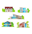 real estate houses cottage and bungalow icons vector image vector image