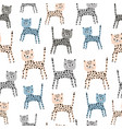 seamless pattern with cute hand drawn leopards vector image vector image