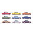 sedan set in bright colors vector image vector image