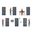 set of server room images with data center and vector image vector image