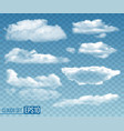 set realistic transparent clouds vector image