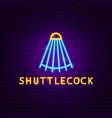 shuttlecock neon label vector image vector image