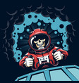 space poster with skull astronaut in vintage style vector image vector image