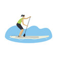 stand up paddle boarding woman on a board vector image