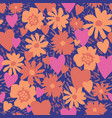 tropical silhouette flowers hearts and textures vector image vector image