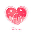 valentines card paper cut heart and st louis vector image vector image