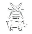 vintage butcher cuts pork menu chalk vector image