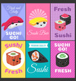 vintage sushi posters in japan comic style vector image