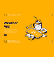 weather app isometric landing page with mobile vector image vector image