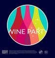 wine party logo color bottles into circle poster vector image vector image