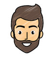 young man head with beard avatar character vector image