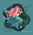 a mermaid with flowing hair vector image