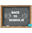 back to school written chalk on a blackboard vector image vector image