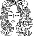 beautiful woman face sketch vector image