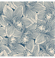 Beige and blue orchid drawing seamless pattern vector image vector image