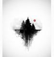 black ink wash painting with three pine trees vector image vector image