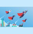 business superheroes progress flying in blue sky vector image vector image