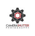 camera shutter gear logo icon symbols vector image
