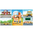 children and different school scenes vector image