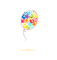 colorful balloon handprints vector image vector image