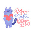 cute cat standing and holding heart character vector image vector image
