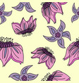 fantasy hand-drawn floral seamless pattern an vector image vector image