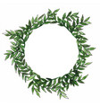 fern forest wreath in circle frame watercolor vector image vector image