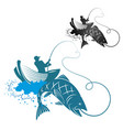 fisherman is fishing vector image vector image