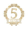 Five years anniversary celebration golden vintage vector image