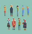 flat set of cartoon freezing men and women vector image