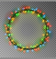 garland wreath decorations christmas color lights vector image