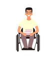 handicap student sit in whilechair disabled man vector image vector image