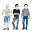 handsome men group standing wearing fashionable vector image