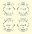 happy new year vintage badges set on beige vector image vector image