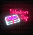 happy valentines day neon glowing festive sign on vector image vector image