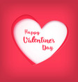 happy valentines day on red heart in paper art vector image vector image