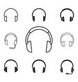 Headphone icon set vector image vector image