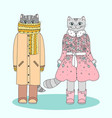 humanized winter cats two cute cartoon kitties vector image vector image