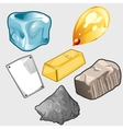 Icons set of gold ore and other materials vector image