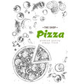 italian pizza top view frame a set classic vector image vector image