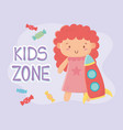 kids zone cute little doll with pink dress and vector image
