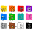 main colors cartoon educational set with robots vector image vector image