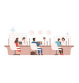 male and female clients sitting and talking to vector image vector image
