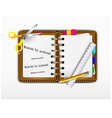 notepad for you design with ruler and scissors vector image vector image