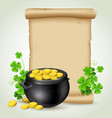 old scroll pot of gold and clover leaves vector image vector image