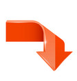 orange bent arrow down 3d symbol vector image