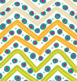 Painted orange and green zigzag with blue dots vector image vector image