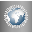 Paper People Holding Hands Around Globe vector image vector image