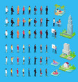 people of various professions and buildings set vector image vector image