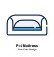pet mattress line color icon vector image
